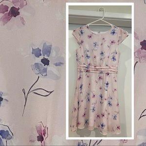 Girls Origami floral short sleeved dress lined